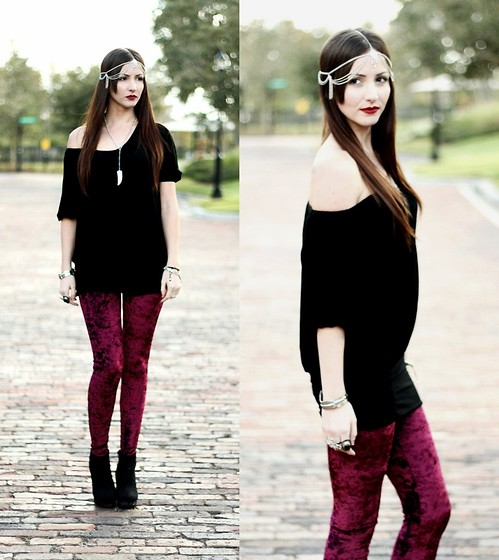 Natalie C - Romwe Deep Red Velvet Leggings, Forever 21 Slouchy Black Sweater, Headpiece, H&M Horn Necklace, Urban Og Black Wedge Booties - Wine like Velvet