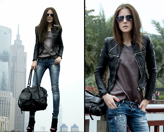 Katerina Kraynova - Paul Black Jacket, Mango Blouse, Bershka Jeans, Bershka Bag, Mango Sunglasses - City Of Casualties