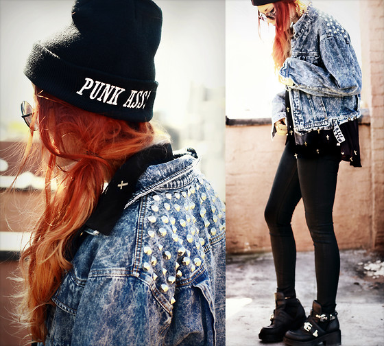 Lua P - Sheinside Blouse, Vivilli Jacket, Alainnbella Black Coated Skinny Pants, Drop The Anchor Beanie, Jeffrey Campbell Coltranes - Light Shines Black.