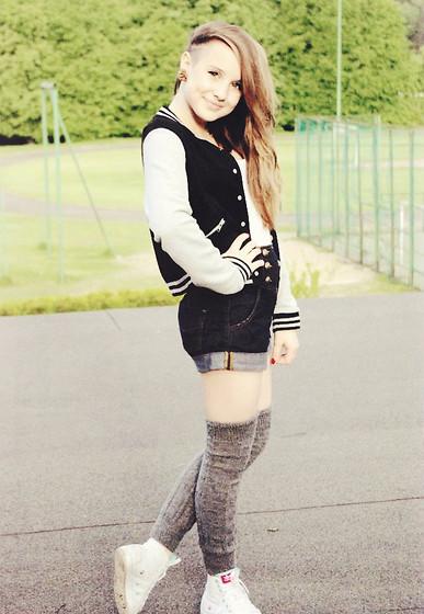 Varsity Jacket, Shorts, Knee High Socks