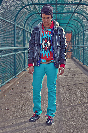 Matthew Woppel - Target Beanie, Topman Necklace, Guess? Faux Leather Bomber Jacket, Urban Outfitters Red/Blue Sweater, Obey Aztec T Shirt, Levi's® Teal Jeans, Dr. Martens Studded Sneakers - Norhoodian