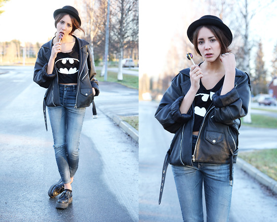 Malin E. - Vintage Jacket, Diy Top, H&M Jeans, Underground Creepers, H&M Hat - My mom says I'm cool.