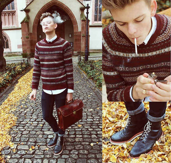 Lukas B. - Zara Shirt, H&M Fairisle Jumper, Cheap Monday Jeans, Dr. Martens, Handmade Bag, Zippo Lighter - Further Up The Road