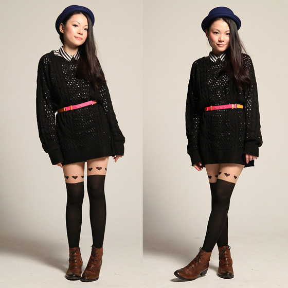 Yuki Lo - Pm Tights, Monki Hat, Monki Shirt, H&M Belt - I heart you
