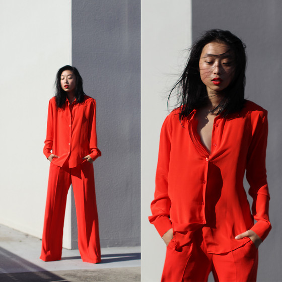 Margaret Zhang - Milk From A Thistle Silk Shirt, Topshop Palazzo Pants - Oh Vermillion.