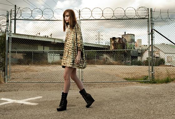 gold dress boots