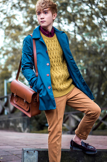 Dake Hu - Lucarne Shirt, Lucarne Pants, Lucarne Sweater, Lucarne Trench Coat, Dr. Martens Shoes, The Cambridge Satchel Company Bag - Walk on the wild side