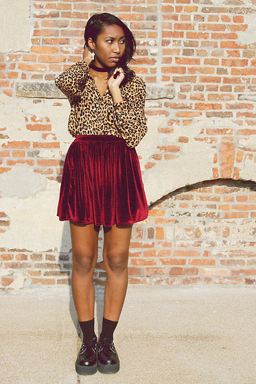 Melanie Patterson - H&M Leopard Button Up, American Apparel Velvet Full Woven Skirt, T.U.K. Mondo Creepers - Leopard + Oxblood