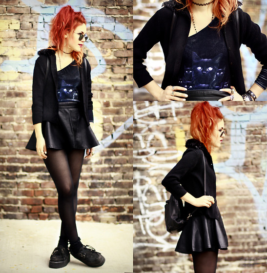 Lua P - Wildfox Couture Bodysuit, Romwe Skirt, Vintage Cardigan - Black Velvet Kitty.
