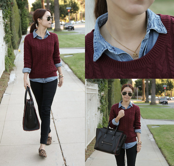 Joan K. - Ray Ban Sunglasses, H&M Knit Sweater, Céline Bag, Chanel Necklace - Oxblood cables