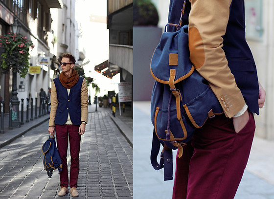 Chaby H. - H&M Two Colors Blazer, Springfield Backpack, H&M Burgundy Trousers - Autumn Color blocking