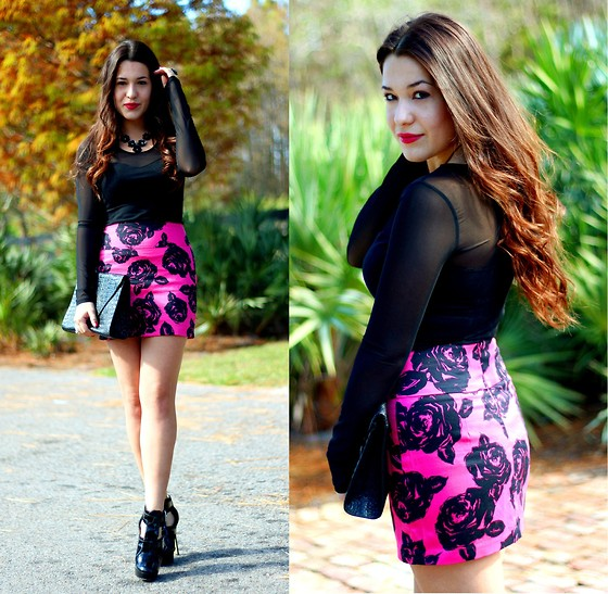 Natalie C - Nordstrom Metal Roses Necklace, Forever 21 Hot Pink Floral Skirt, Asos Mesh Sweetheart Dress (As Top), Topshop Envelope Clutch, Michael Kors Patent Leather And Suede - Black and Pink