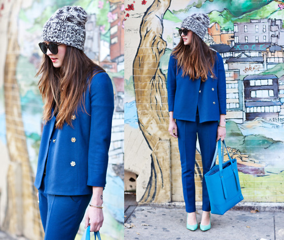 Laura Ellner - Madewell Beanie, Mina & Olya Suit, Illbeca By Joy Gryson Tote, Pour La Victoire Pumps - Suit Up