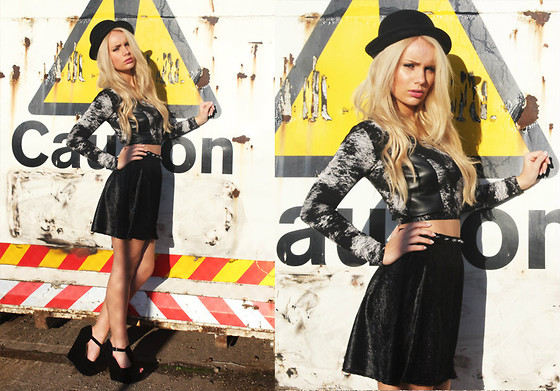 Danielle R - Love 'No Allowed' Velvet Spike Skirt, Blunt 'Smoke And Leather' Crop Top, T Bar Wedge - No Love Allowed