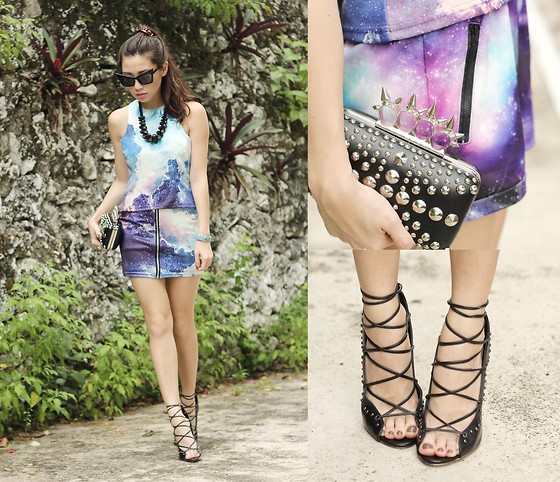 Kryz Uy - Sheinside Skirt, Wagw Top, Choies Heels - Galaxy Girl