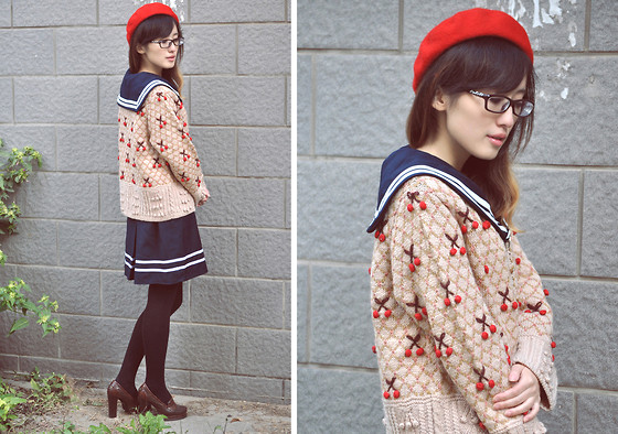 Anne King - H&M Beret, Vintage Sailor Dress, Vintage Sweater, Randa Shoes - Vintage Affair~episode 9~wind took my sail