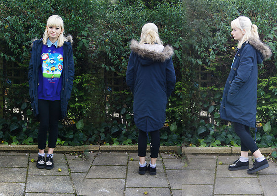 Sophie Bee - Tesco Parka, Underground Creepers, Wild Clothing (Vintage) Balloon Sweater, H&M Denim Shirt - It's getting rather chilly