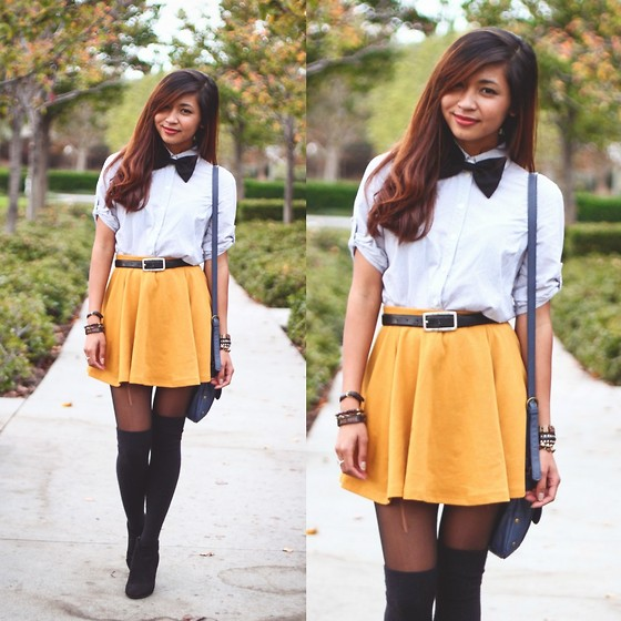 Heliely Bermudez - Cotton On Mustard Skirt, Thrifted Black Belt, Forever 21 Button Up Polo, Forever 21 Bow Tie, Vera Wang Knee High Socks, Forever 21 Black Suede Boots - Mate Date