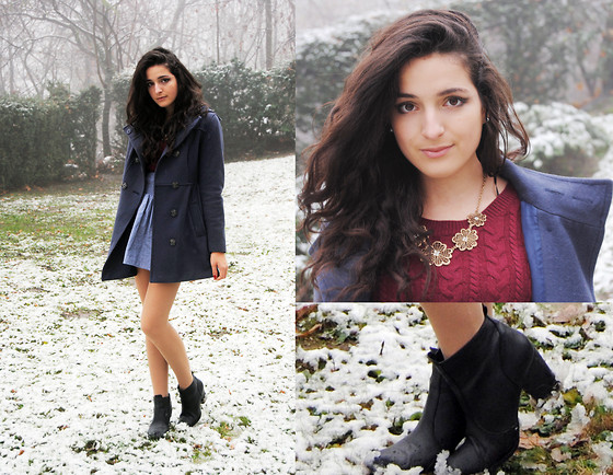Melinda S. - Forever 21 Flower Necklace, H&M Black Boots, H&M Burgundy Sweater, H&M Navy Coat - The first fall of snow is not only an event, it is a magical