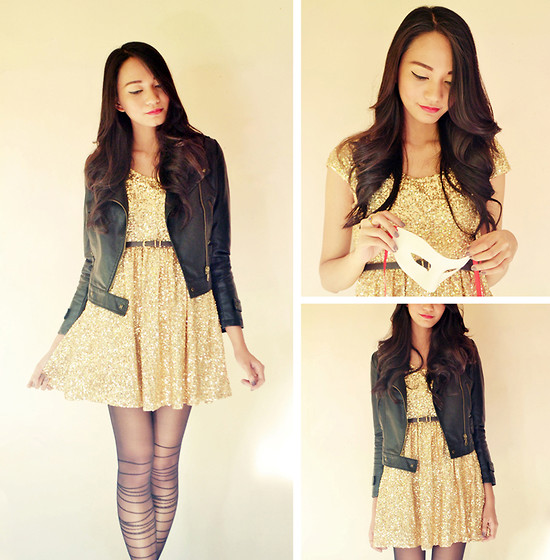 Kristine G - Oasap Leather Jacket, Romwe Gold Pailette Dress And Tights - Like Falling Stars, We Dance