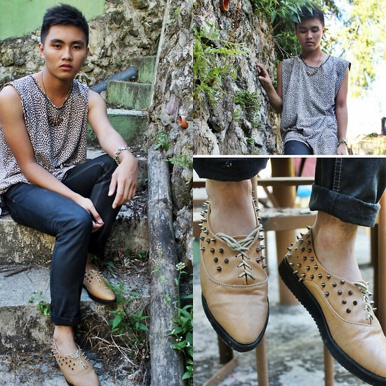 Kojin Domingo - Diy Spiked Creeper, Topman Animal Print Top - Tame Me .