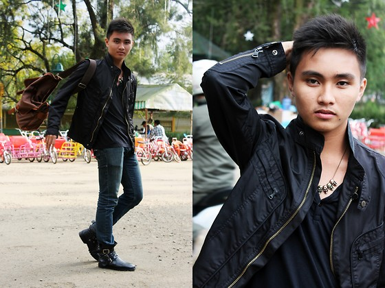Kojin Domingo - Leather Jacket, Bench V Neck Tee, Skull Necklace - Raven.