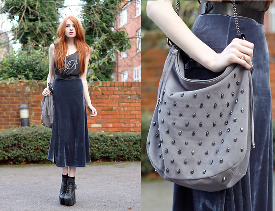 Olivia Emily - Velvet Midi Skirt, Paul's Boutique Skull Stud Bag, Slayer Tee, Jeffrey Campbell Fredas - Black & Blue.