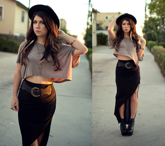 Corinne Alexandra - Forever 21 Black Fedora, H&M Taupe Crop Top, Urban Outfitters Maxi Pencil Skirt - Hourglass Sunset
