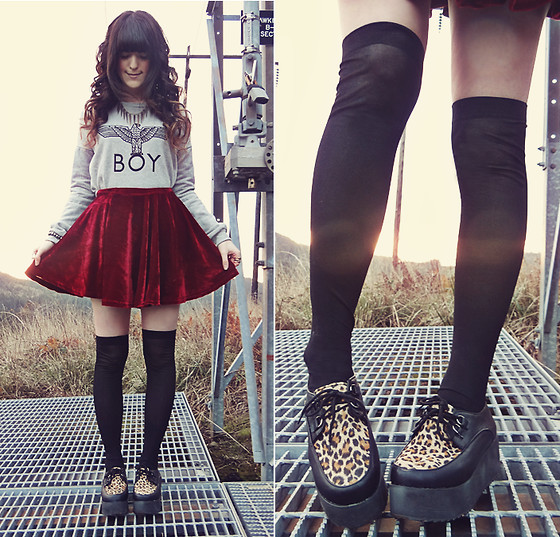 Ashlei Louise . - Oasap Leopard Creepers, Chicnova Red Velvet Skirt - Animal Control // + 2 giveaways!