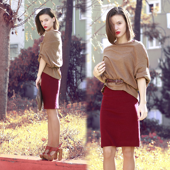 Mariana Soares Branco - Nowistyle Shirt, Nowistyle Burgundy Dress - Miss Tangerine | My heart lies in autumn sunny days