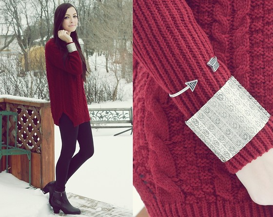 Breanne S. - Merrin & Gussy Bracelets, Romwe Crimson Sweater, Spring Booties - Crimson and Silver