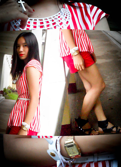 Germeline Nabua - Aizylim Collar Necklace, Aizylime Spike Arm Candies, Casio Gold Vintage Watch, Wagw Peplum Blouse, Mto From Head To Toe Red Ombre Shorts, Diy Studded Gladiator - Dreaming of a White Christmas AND RED