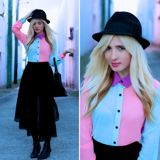 Jessi A - Romwe Maxi Skirt, Nasty Gal Colorblock Blouse, Thrifted Black Boots, Nasty Gal Necklace - Cotton Candy Winter