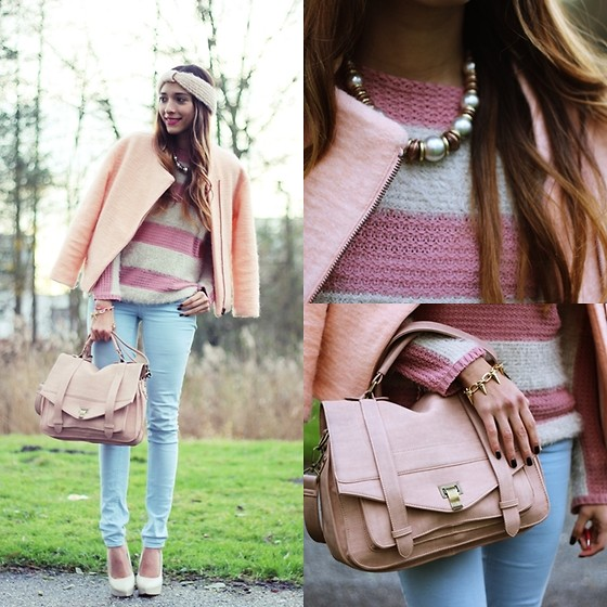 Virgit Canaz - Nowistyle Stripe Sweater, Proenza Schouler Look Like Bag, Chic Wish Spike Bracelet, Ecuador Necklace - Suikerspin