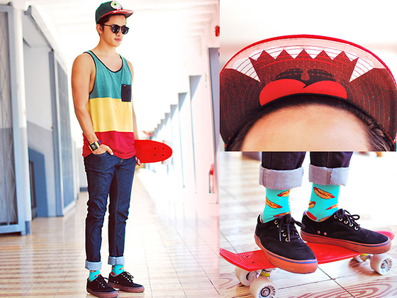 David Guison - Sperry Sneakers, United Colors Of Benetton Jeans, Inako Lego Watch - Hotdog Bun