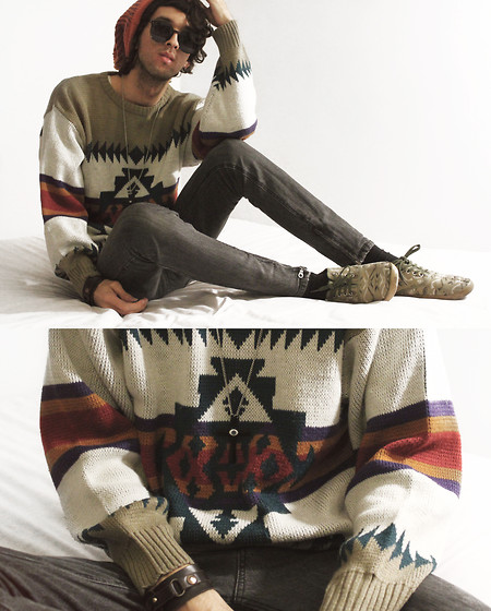 Bobby Raffin - Aztec Sweater, Cross Necklace - Indie for Breakfast.