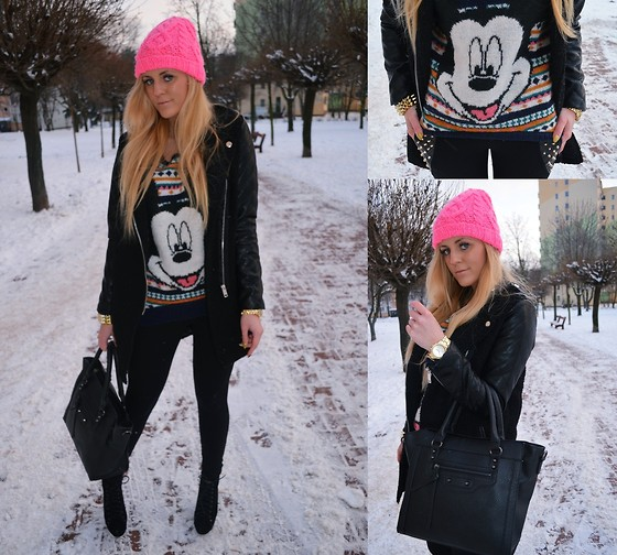 Estelle Fashion - H&M Beanie, H&M Sweater, Zara Coat, Miss Wish Bag, Deezee Shoes, Bloggershop.Pl Leggins, Allegro Watch - NEON BEANIE