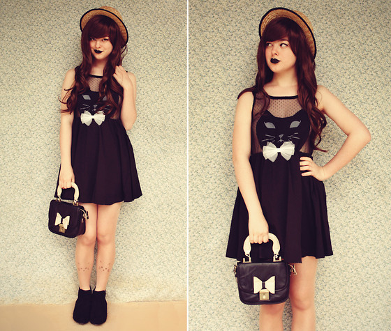 Annika Victoria - Cat Face Dress, 60s Satchel Bag, Cat Face Tights, Timeless Boots, Boater Hat, Wig - Triple Kitty Part 2