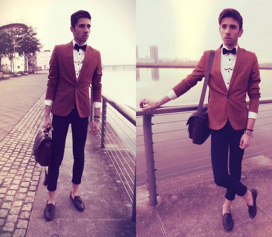 Anthony Lyngos - Black Bow Tie, H&M Bronze Blazer, Black Skinny Chinos, Brown Tassled Loafers, Brown Satchel, Topman Moustache Necklace, Shirt - Lost In Paradise