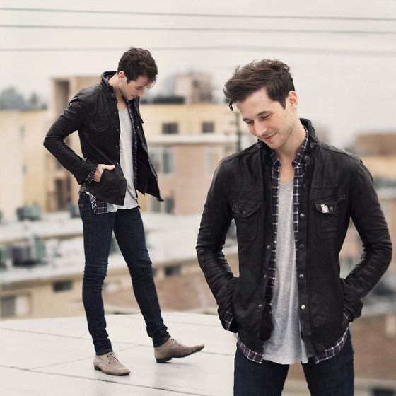 Alexander Noyes - All Saints Leather Jacket, Nudie Jeans Blue, Pierre Hardy Leather Boots, Ben Sherman Plaid Shirt - Overcast