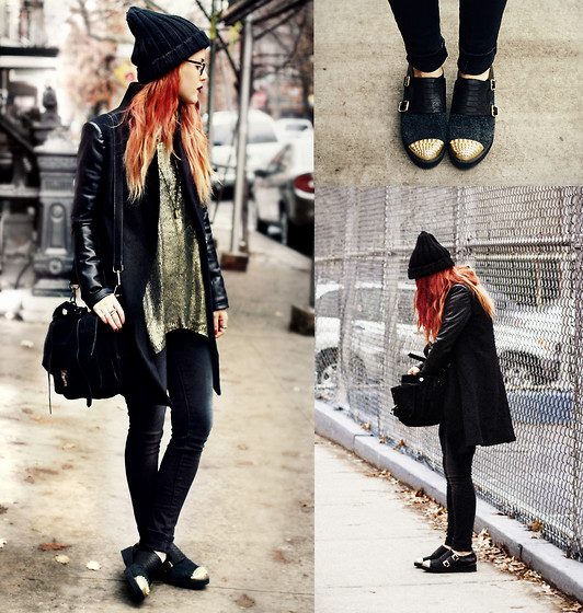 Lua P - Sheinside Metallic Jumper, Sheinside Pu Sleeved Coat, All Sole Flats, Jessica Buurman Bag - Golden Winter.