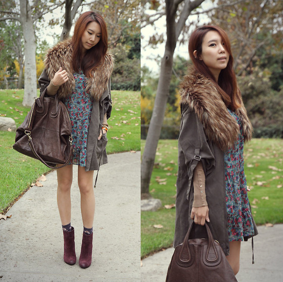 Joan K. - Urban Outfitters Dress, H&M Faux Fur Collar, Joe's Jeans Booties, Givenchy Bag - Gone with the wind