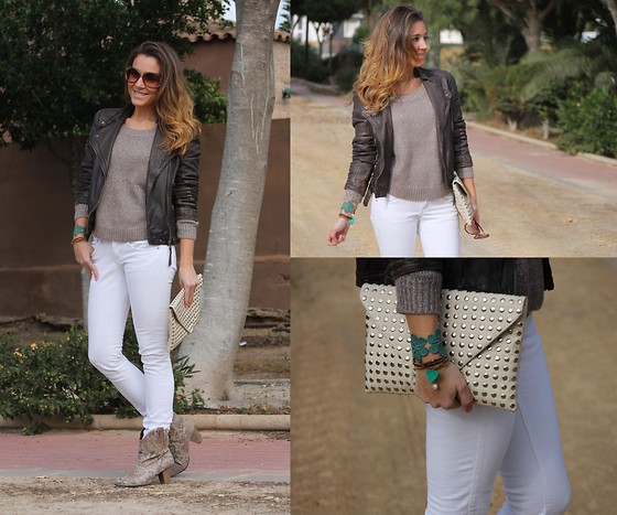 TAMARA M - Zara Leather Jacket, Mango Jeans, H&M Sweater, Zara Clucth, The Fab Shoes Booties - The fab shoes + beige