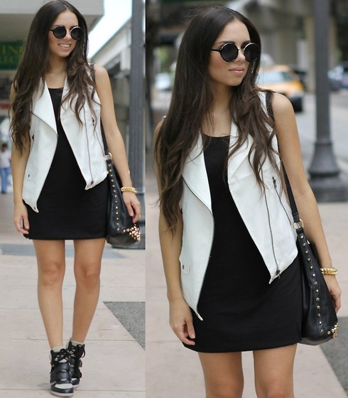 Daniela Ramirez - Zara White Vest, Gojane Wedge Sneakers, Aviesta Studded Bag, Furor Moda Round Sunglasses - Downtown casual