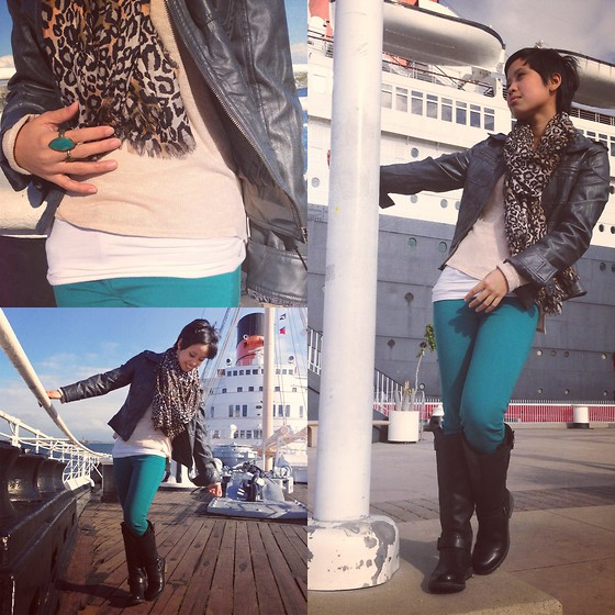 Sassy Cuna - H&M Leopard Scarf, Full Tilt Grey Leather Jacket, H&M Long Sleeves, Icing Teal Ring, Pacsun Teal Skinny Jeans, Steve Madden Knee High Boots - Touring the City