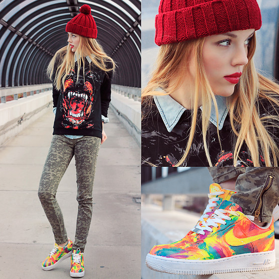 Ruby June - Guess? Camo Print Jeans, Guess? Denim Button Up, Sweater, Red Knit Hat, Nike Air Force One, Shiseido Nocturne Lip Color - DIY ▲ AF1'S
