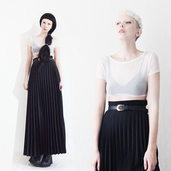 JENNY MUSTARD . - Sheer Crop Top, Pleated Skirt - Happy holidays - lots of love !