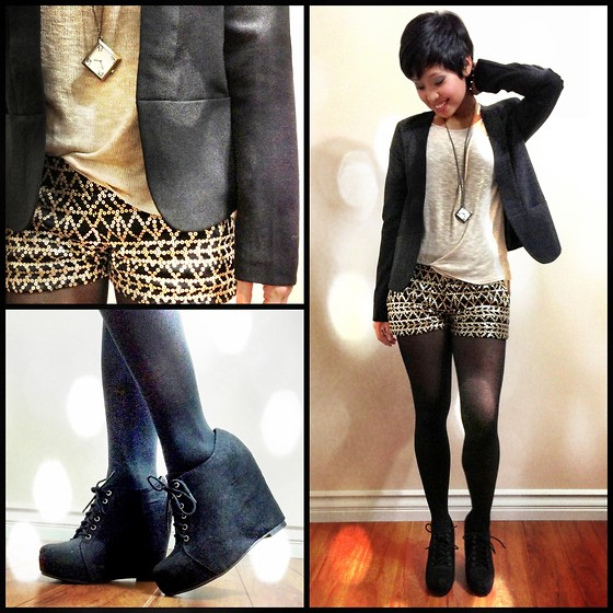 Sassy Cuna - Riverland Black Blazer, Pacsun Gold Sequined Shorts, Vintage Watch Necklace, Black Poppy Lace Up Ankle Wedges - Black and Gold for Holiday Parties
