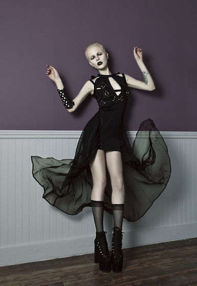 Page Ruth - Unif Harness Dress, Leather Arm Band, Leather Harness, American Apparel Knee High Socks, Unif Hellbounds - † Give Me Mercy †