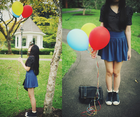 Amanda Mabel - Polka Dot Blouse, Blue Skater Skirt, Ebay Frilly Socks, Converse Grey High Top Sneakers, Satchel, Balloons, Burberry Black Glasses - Balloons and Converse